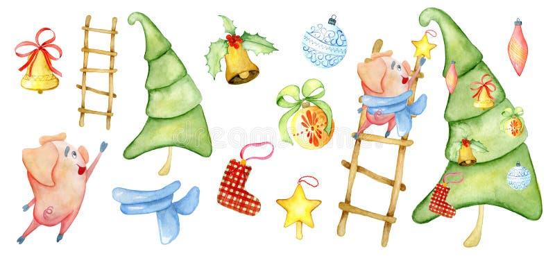 Van de de scèneschepper van de Kerstmiswaterverf de Winterillustratie met leuk varken die pijnboomboom verfraaien royalty-vrije illustratie