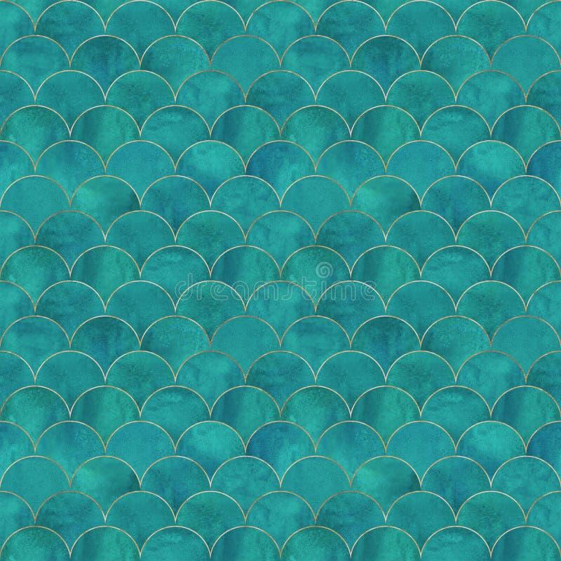Van de de schaalgolf van meerminvissen het Japanse naadloze patroon stock foto's