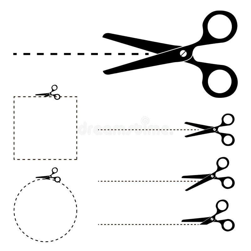 Van de schaarsilhouet en besnoeiing geplaatste lijnen stock illustratie