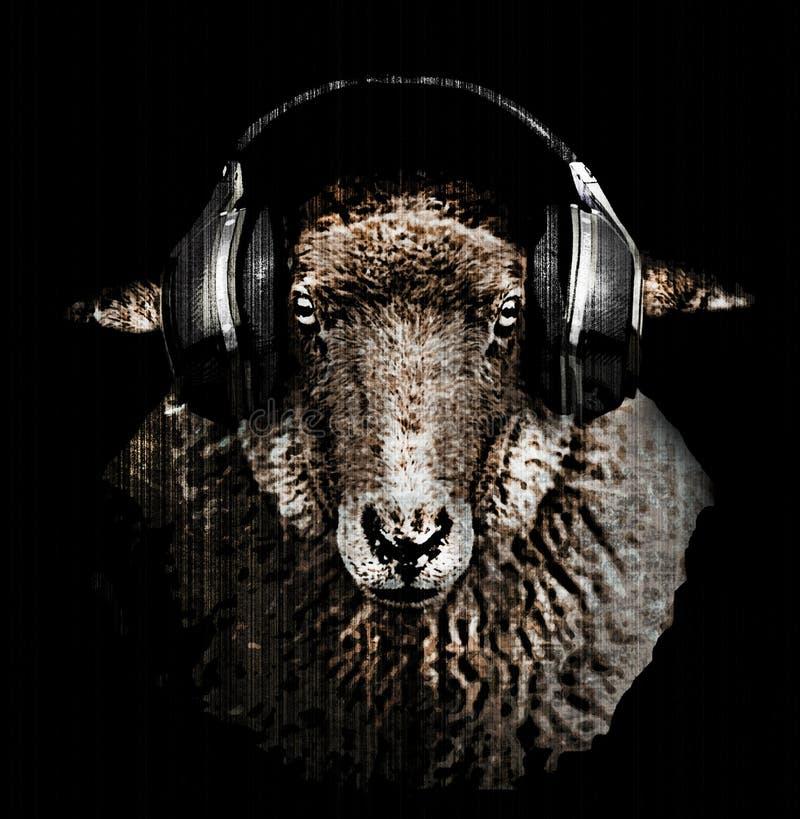 Van de de schapenram van DJ van de de hoofdtelefoonsmuziek de T-shirtontwerp stock illustratie