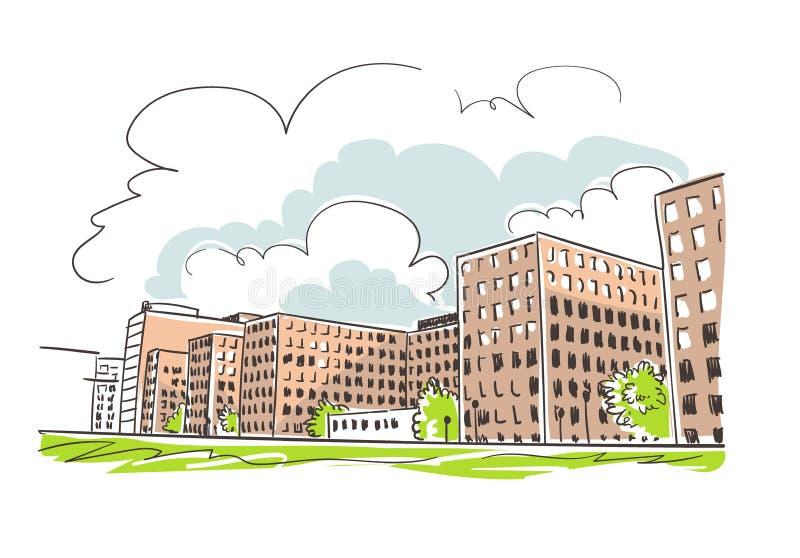 Van de de schetslijn van de gebouwenschets de vector kleurrijke waterverf vector illustratie