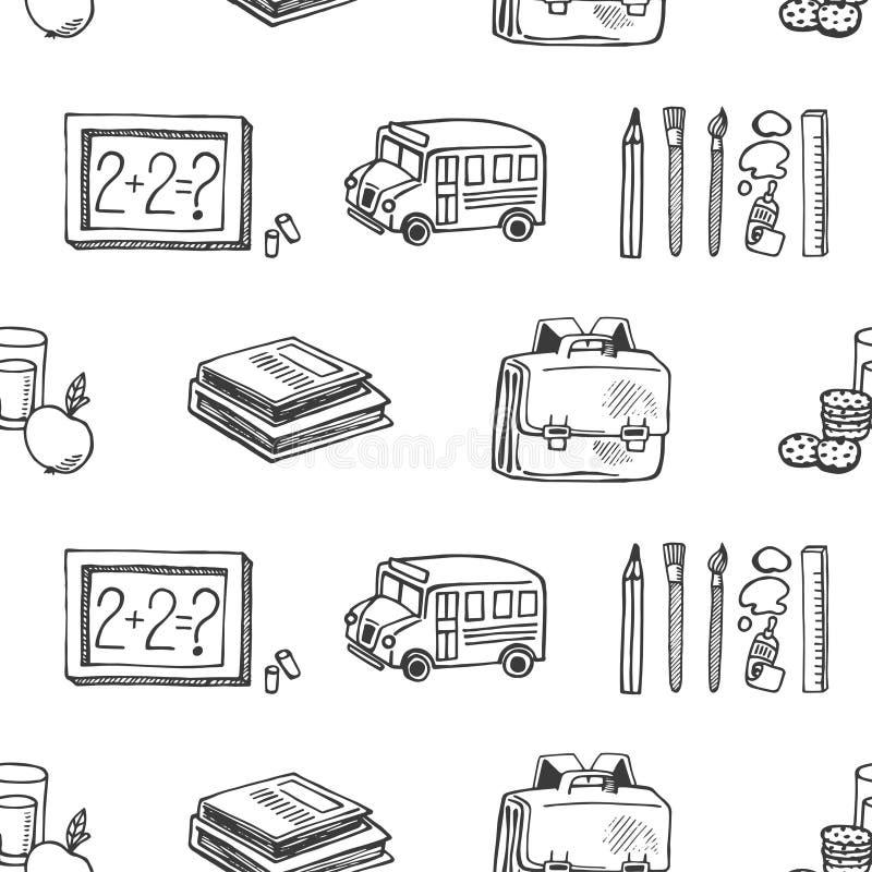 Van de schetspictogrammen van schoolhulpmiddelen het naadloze vectorpatroon stock illustratie