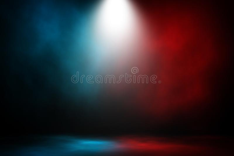 Van de schijnwerperstrijd en gelijke rode en blauwe rook stock illustratie