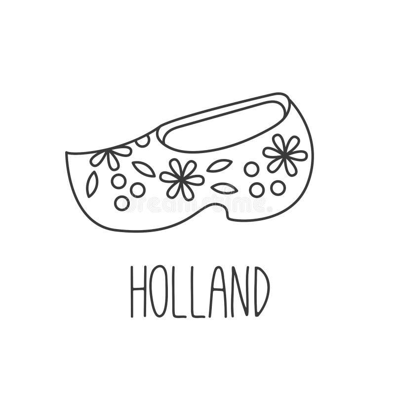 Van de de schoenbelemmering van Holland het houten vectorpictogram clomp royalty-vrije illustratie