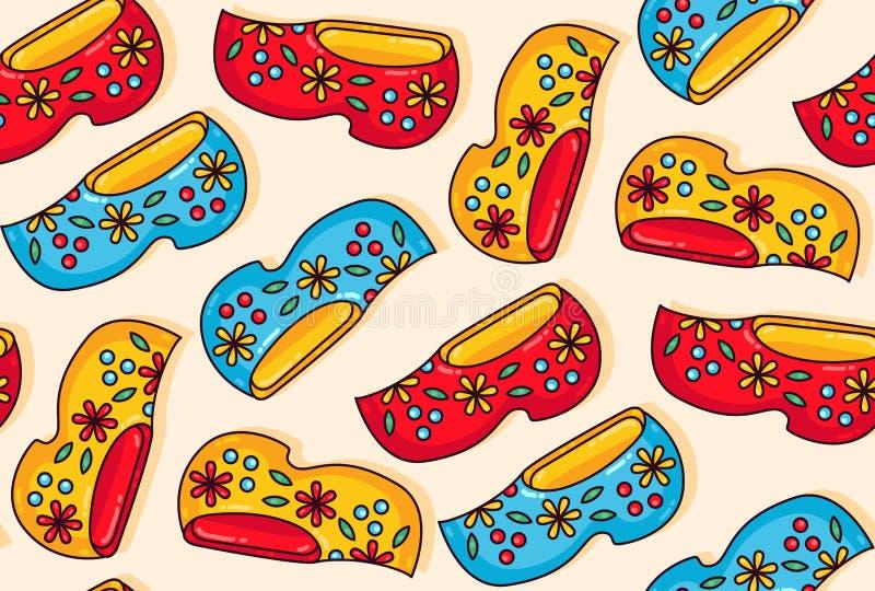 Van de schoenenbelemmeringen van Holland Nederland het houten naadloze vectorpatroon royalty-vrije illustratie