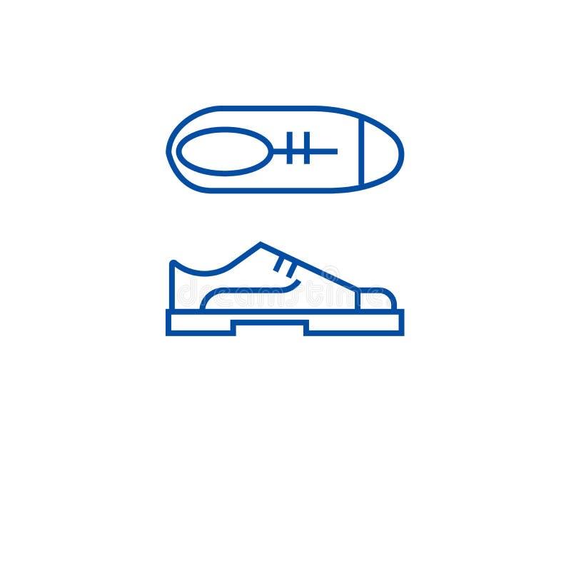Van de de schoenenlijn van Oxford het pictogramconcept De schoenen vlak vectorsymbool van Oxford, teken, overzichtsillustratie royalty-vrije illustratie