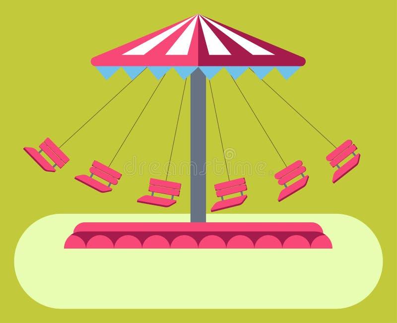 Van de de schommelingsrit van pretparkaantrekkelijkheden de carrousel vector vlak ontwerp vector illustratie