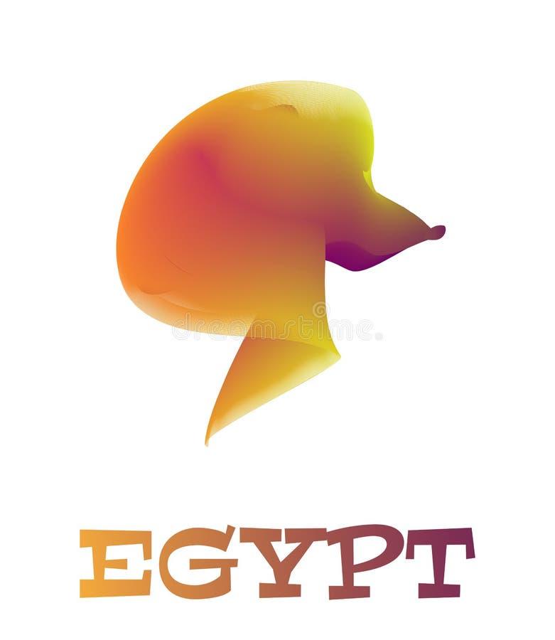Van de de sfinxleeuw van Egypte hoofd het silhouet vectorembleem stock illustratie