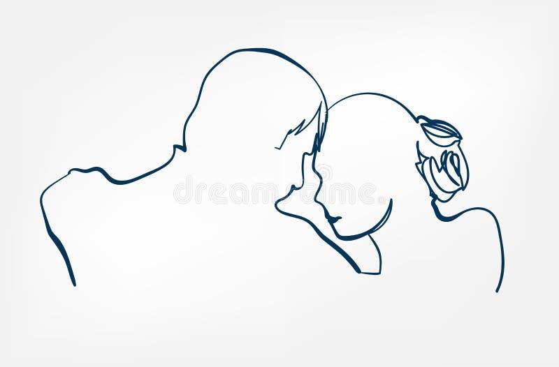 Van de sihouetteschets van het danspaar de lijn vectorontwerp royalty-vrije illustratie