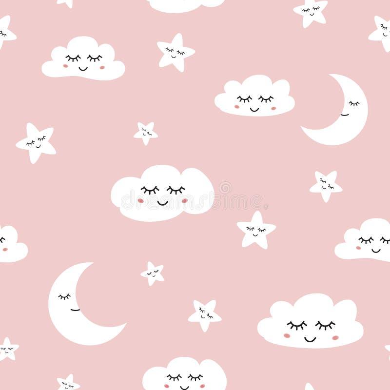 Van de Slaapwolken van het wolken naadloze patroon van de maansterren van het de babymeisje vector als achtergrond royalty-vrije illustratie