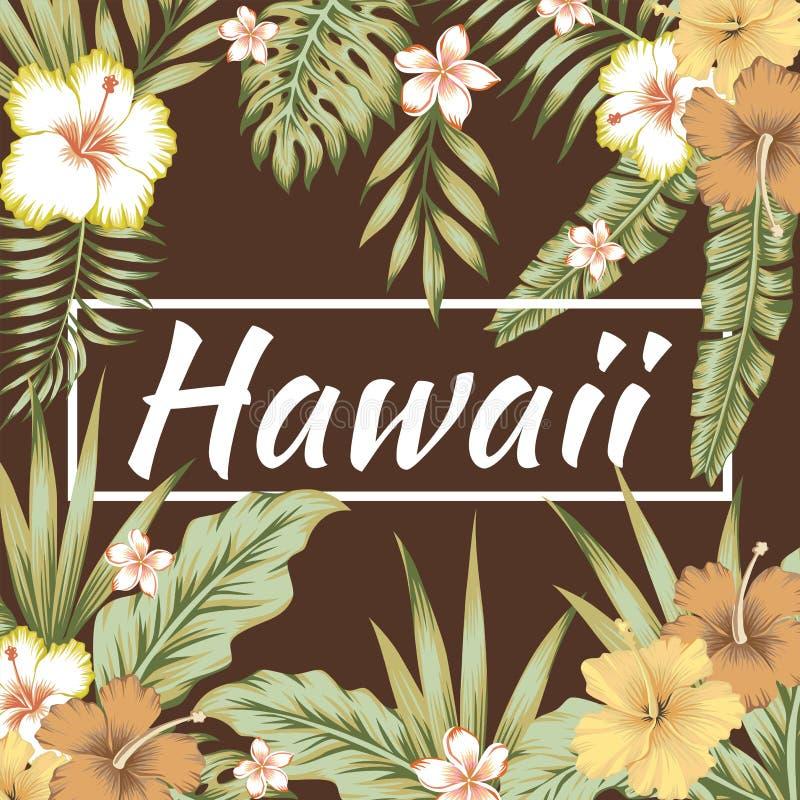 Van de slogan tropische bladeren van Hawaï de hibiscus bruine achtergrond royalty-vrije illustratie