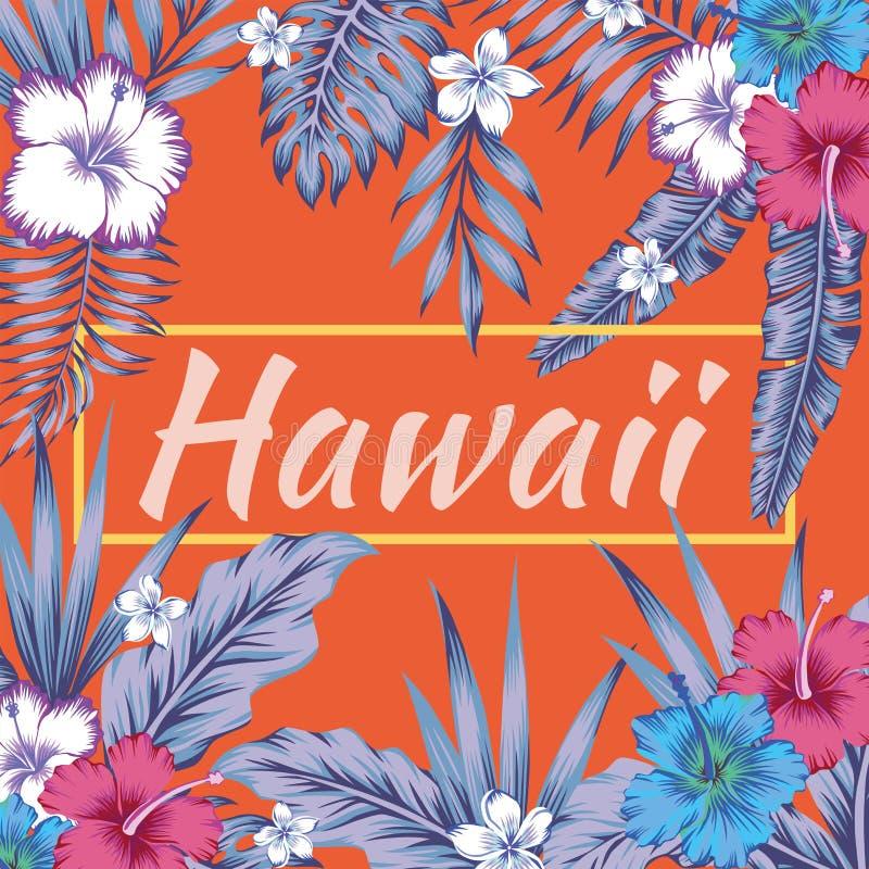 Van de slogan tropische bladeren van Hawaï de hibiscus oranje achtergrond royalty-vrije illustratie