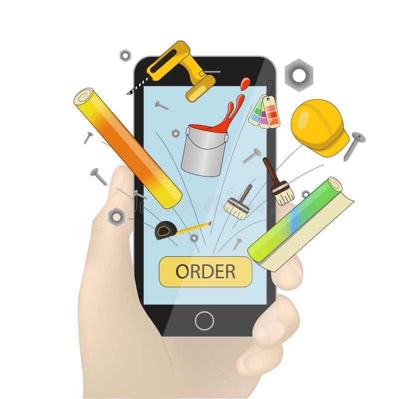 Van de smartphone de vector, zwarte mobiele die telefoon van de handholding in hand illustratie op witte achtergrond wordt geïso royalty-vrije illustratie