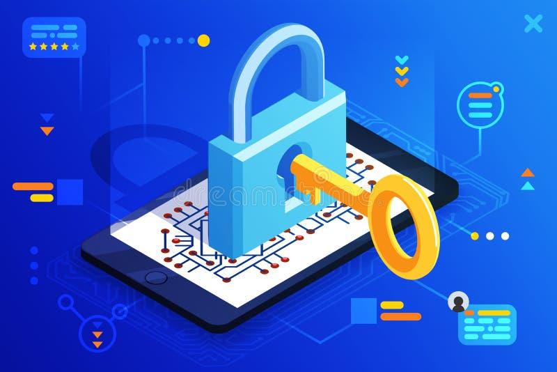 Van de smartphonetoegang van de mobiel webveiligheid van het de technologie digitale slot de isometrische 3d zeer belangrijke vec stock illustratie
