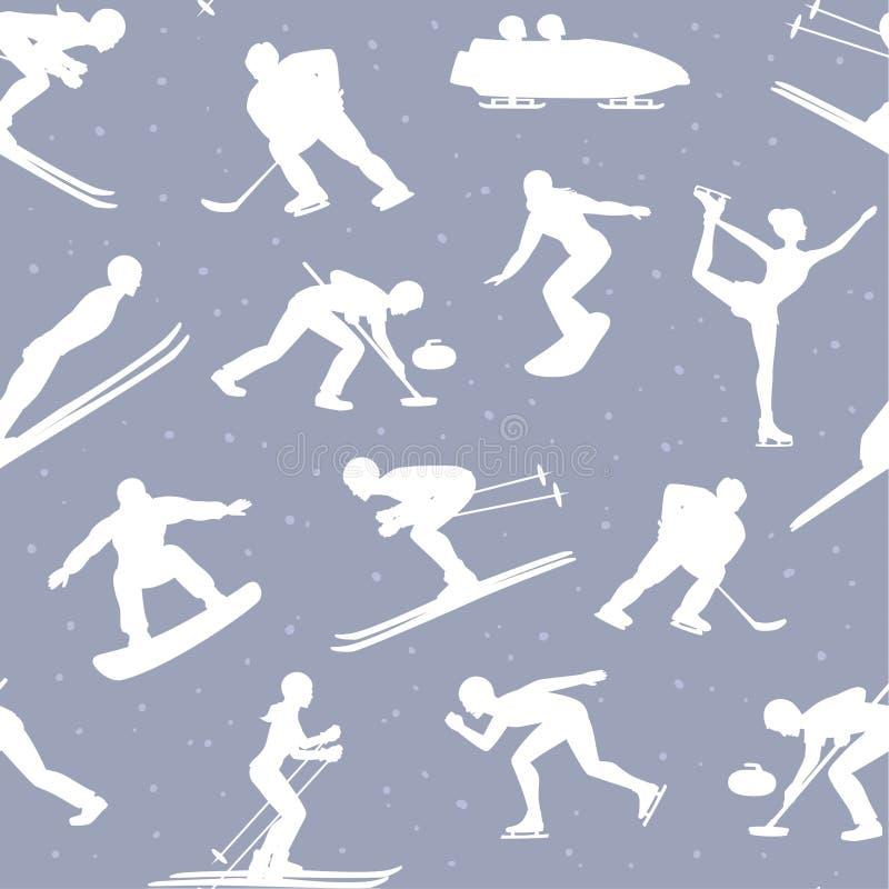 Van de Sneeuwsporten van het de winterijs Naadloze het Patroonachtergrond royalty-vrije illustratie