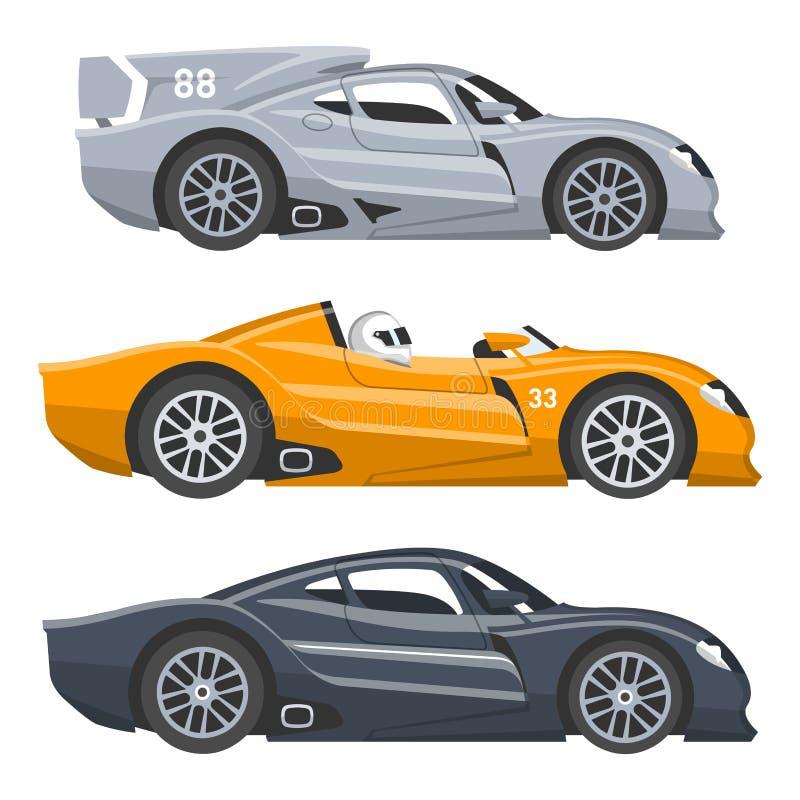 Van de de snelheids automobiele en offroad verzameling van de sportraceauto vector de auto kleurrijke snelle motor die autobestuu stock illustratie