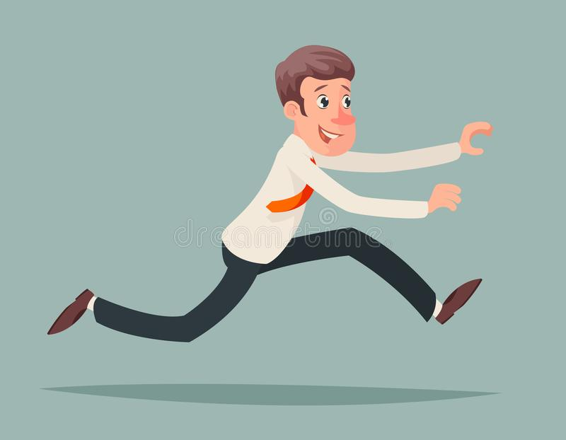 Van de de Snelheidswinnaar van zakenmanrunning hurry race de Spoed van het het Karakterpictogram van het het Beeldverhaalontwerp  royalty-vrije illustratie