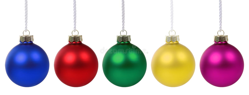 Van de snuisterijenkleuren van Kerstmisballen geïsoleerde decodecoratie stock foto's