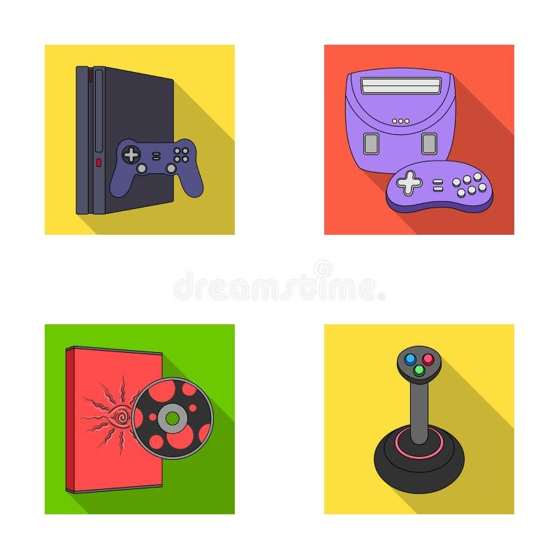 Van de van de spelconsole, bedieningshendel en schijf vlakke pictogrammen in vastgestelde inzameling voor ontwerp Web van de het  stock illustratie