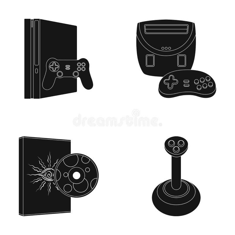 Van de van de spelconsole, bedieningshendel en schijf zwarte pictogrammen in vastgestelde inzameling voor ontwerp Web van de het  vector illustratie