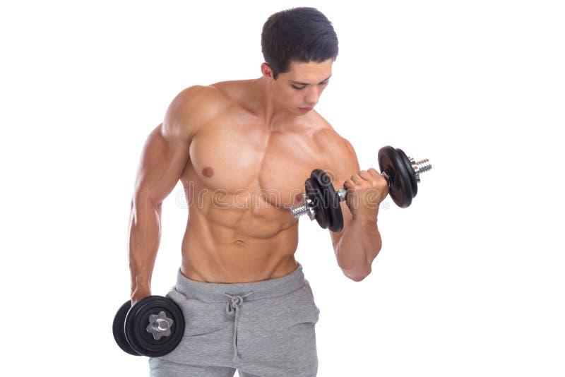 Van de spierenbicepsen van de Bodybuildingsbodybuilder het lichaamsbouwer die du bouwen stock fotografie
