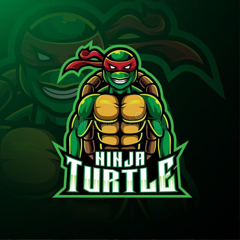 Van de de sportmascotte van de Ninjaschildpad het embleemontwerp royalty-vrije illustratie