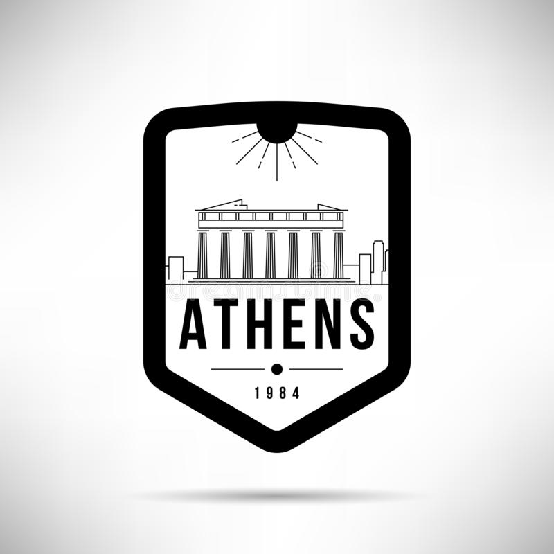 Van de de Stads het Moderne Horizon van Athene Vectormalplaatje stock illustratie