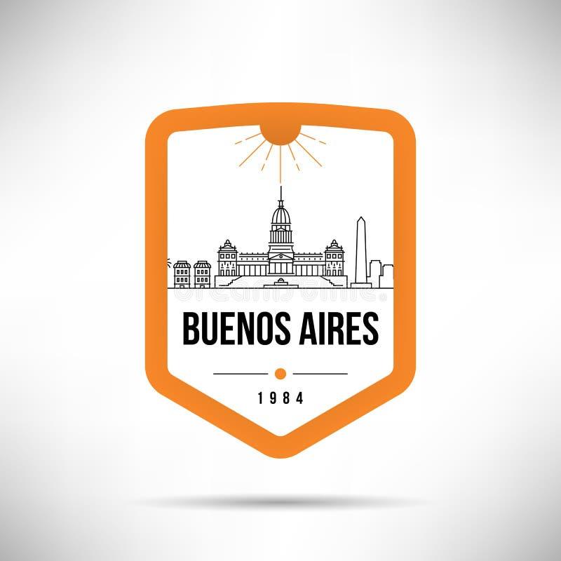 Van de de Stads het Moderne Horizon van Buenos aires Vectormalplaatje royalty-vrije illustratie