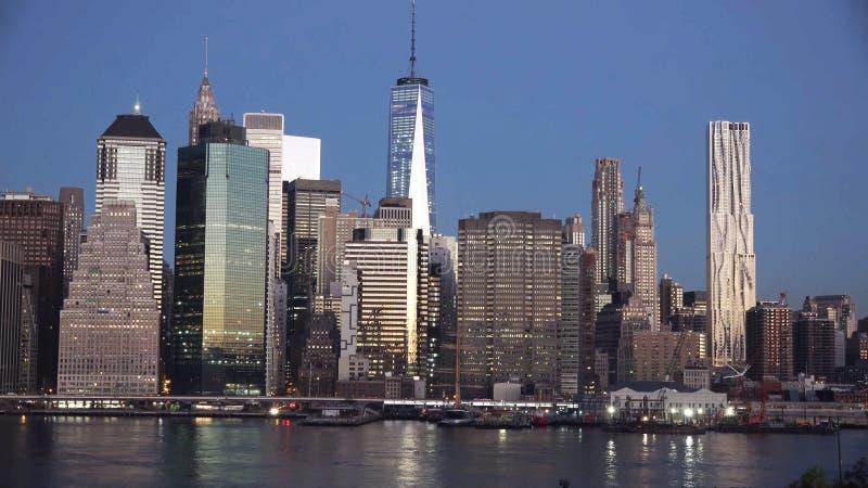 Van de Stads uit het stadscentrum Manhattan van New York van de de zonsonderganghorizon het panoramamening stock foto