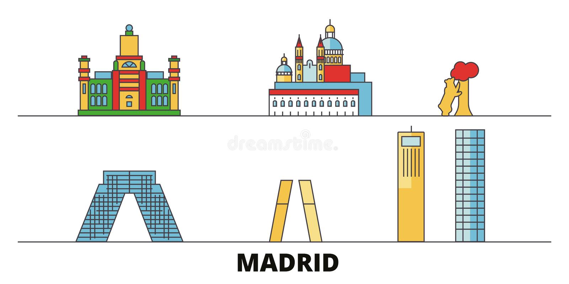 Van de Stads de vlakke oriëntatiepunten van Spanje, Madrid vectorillustratie De stad van de de Stadslijn van Spanje, Madrid met b royalty-vrije illustratie