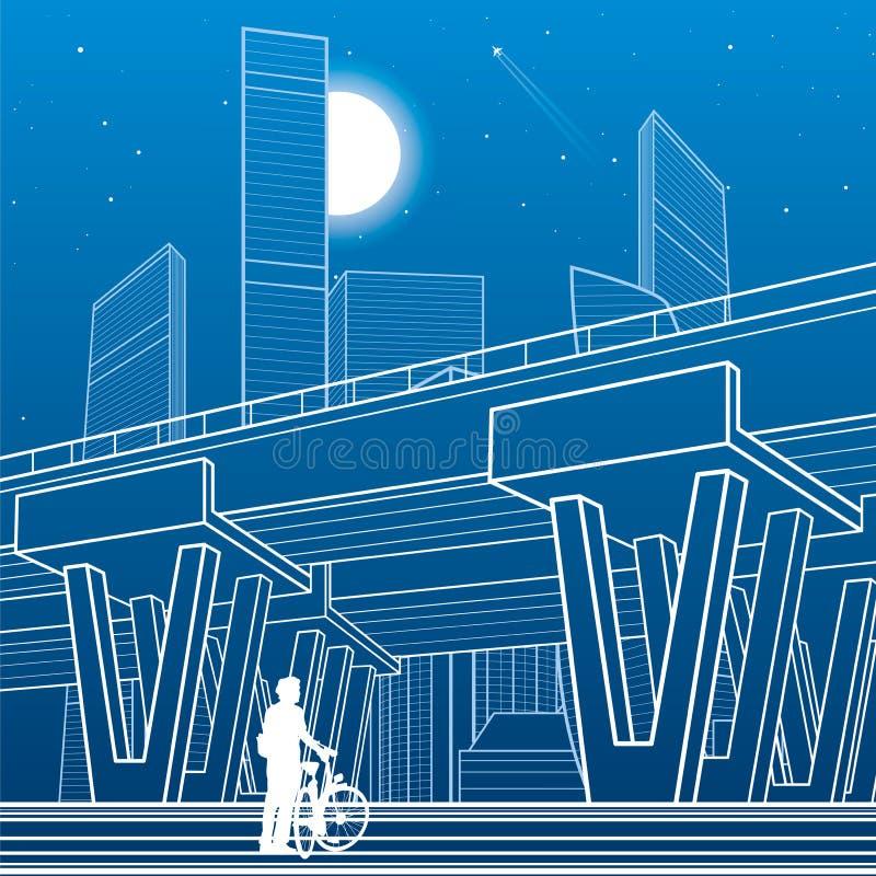 Van de stadsarchitectuur en infrastructuur illustratie, automobielviaduct, grote brug, stedelijke scène De stad van de nacht Witt royalty-vrije illustratie