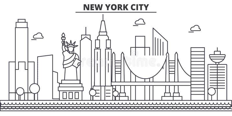 Van de de Stadsarchitectuur van New York, New York de illustratie van de de lijnhorizon Lineaire vectorcityscape met beroemde ori stock illustratie