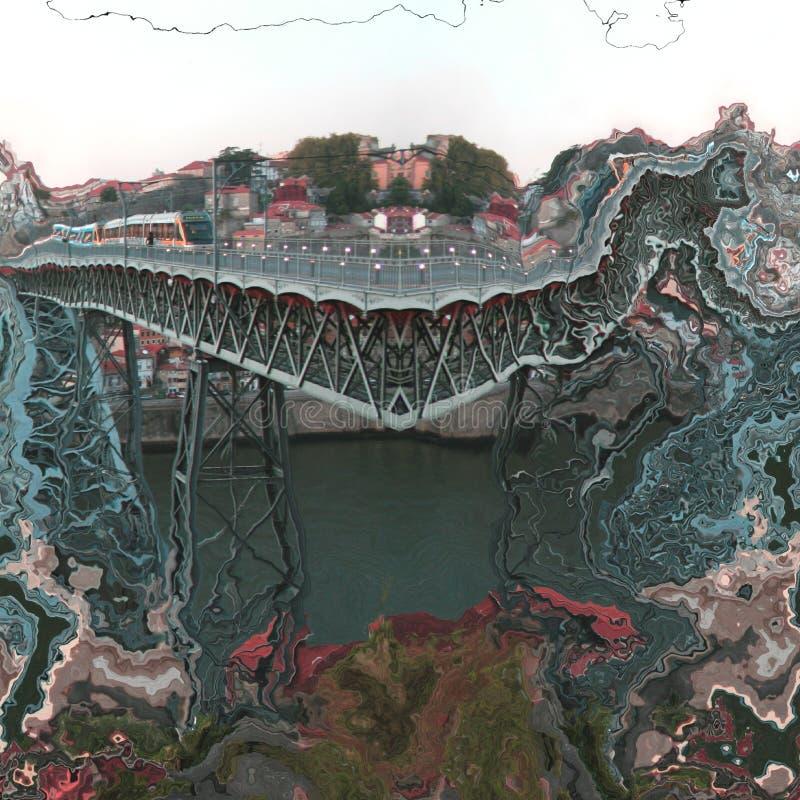 Van de de stadsbrug van Porto het abstracte digitale art. royalty-vrije stock fotografie