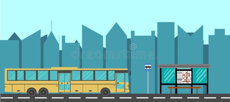 Van de stadsbus en Bushalte Vlakke Stijl stock illustratie