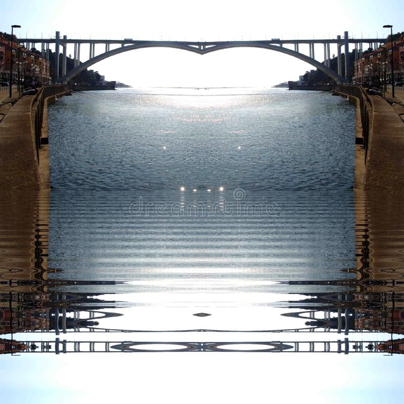 Van de stadsdouro van Porto de rivier abstract digitaal art. stock fotografie