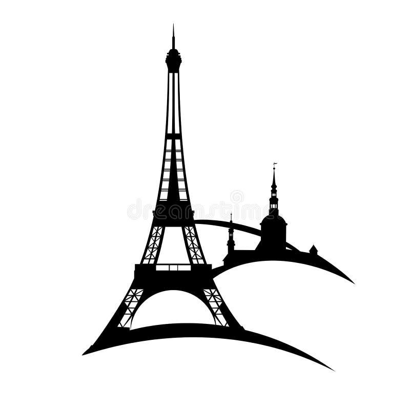 Van de stadseiffel van Parijs de toren zwart vectorsilhouet royalty-vrije illustratie