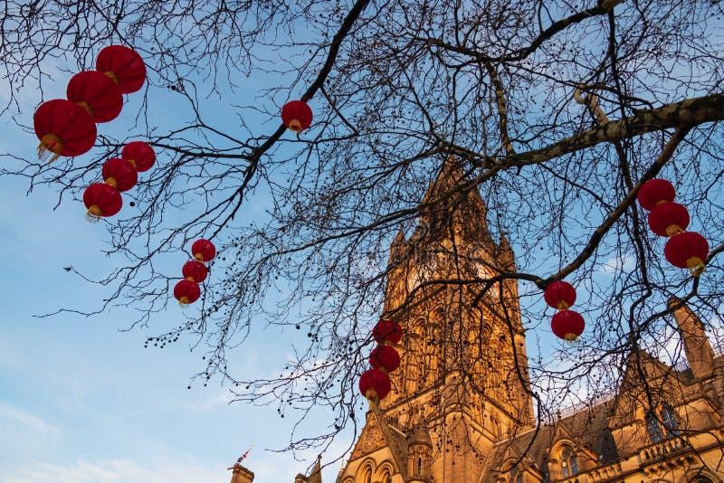Van de Stadshall chinese new year van Manchester de lantaarndecoratie in Manchester, het UK royalty-vrije stock foto