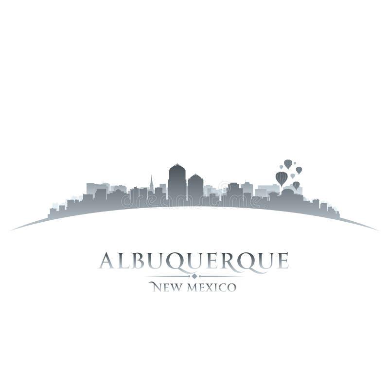 Van de de stadshorizon van Albuquerque New Mexico het silhouet witte achtergrond vector illustratie