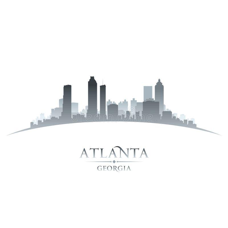 Van de de stadshorizon van Atlanta Georgië het silhouet witte achtergrond vector illustratie
