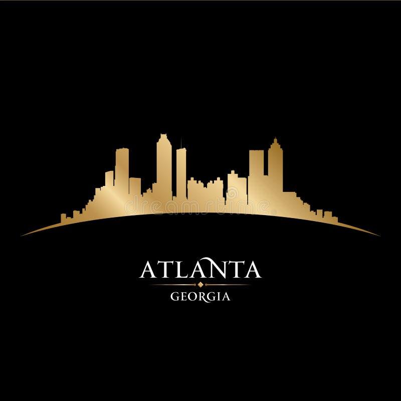 Van de de stadshorizon van Atlanta Georgië het silhouet zwarte achtergrond royalty-vrije illustratie