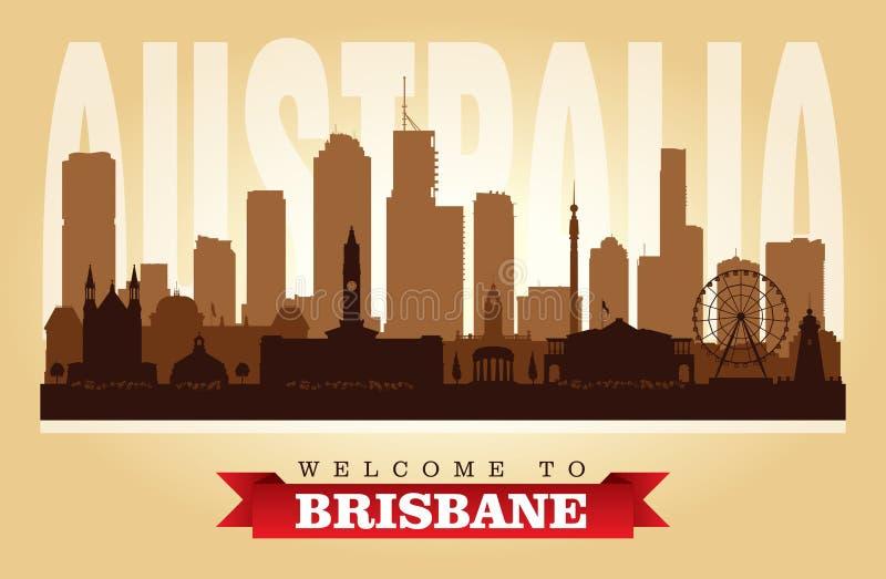 Van de de stadshorizon van Brisbane Australië het vectorsilhouet stock illustratie