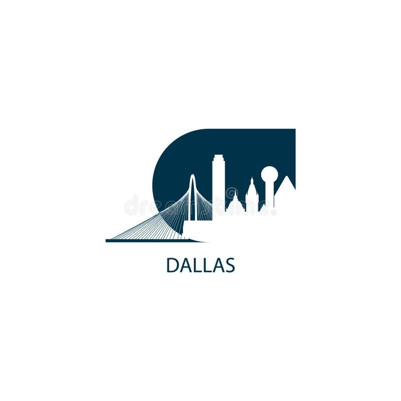 Van de de stadshorizon van Dallas illustratie van het het silhouet de vectorembleem stock illustratie