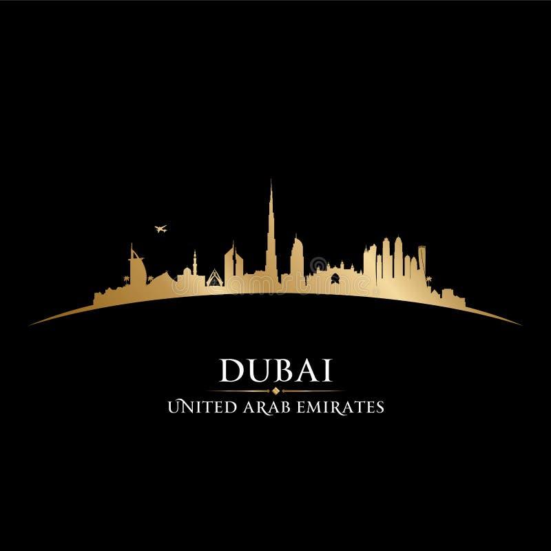 Van de de stadshorizon van Doubai de V.A.E het silhouet zwarte achtergrond vector illustratie