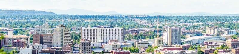 Van de stadshorizon en Spokane van Spokane Washington valleimeningen stock fotografie