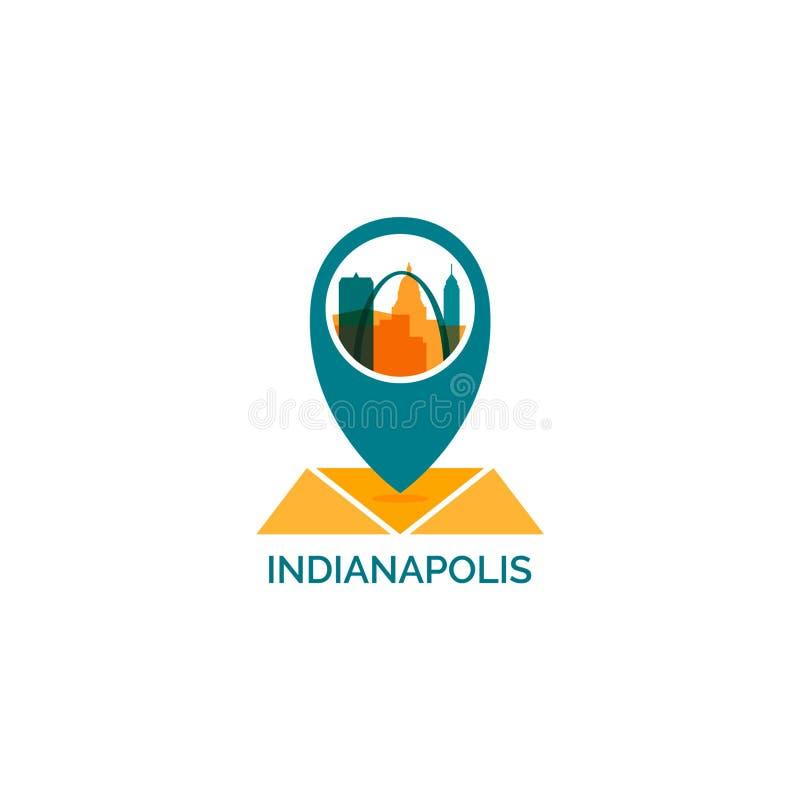 Van de de stadshorizon van Indianapolis illustratie van het het silhouet de vectorembleem royalty-vrije illustratie