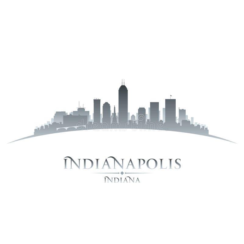 Van de de stadshorizon van Indianapolis Indiana het silhouet witte achtergrond vector illustratie