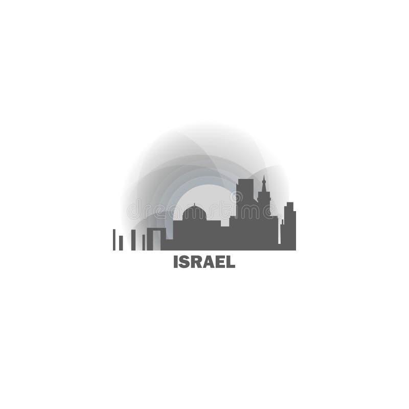 Van de de stadshorizon van Israël van het de vormembleem het pictogramillustratie stock illustratie