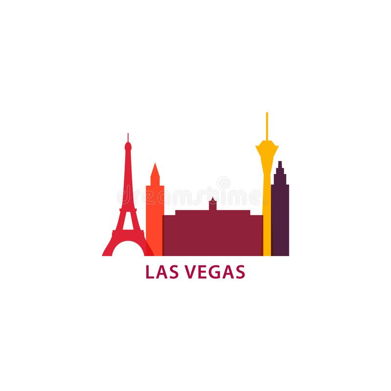 Van de de stadshorizon van Las Vegas illustratie van het het silhouet de vectorembleem vector illustratie