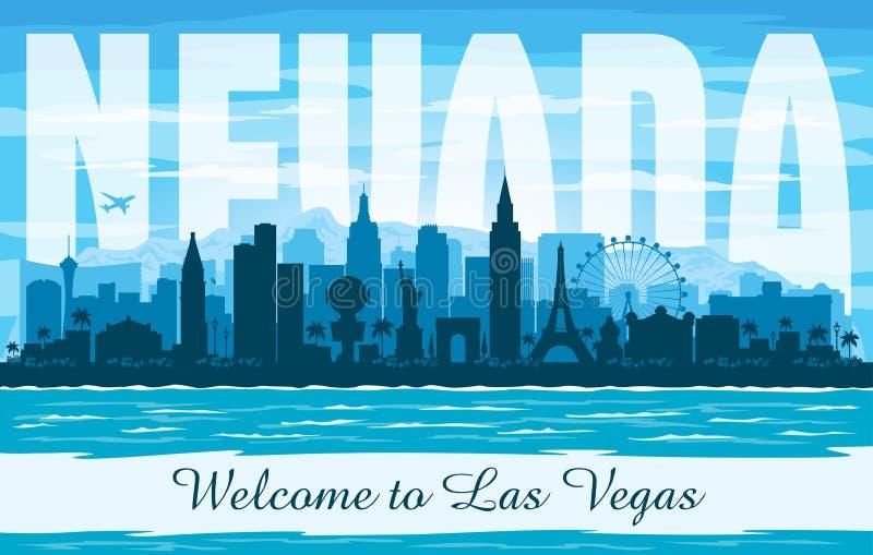 Van de de stadshorizon van Las Vegas Nevada het vectorsilhouet stock illustratie