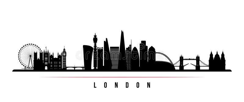 Van de de stadshorizon van Londen de horizontale banner Zwart-wit silhouet van de stad van Londen vector illustratie